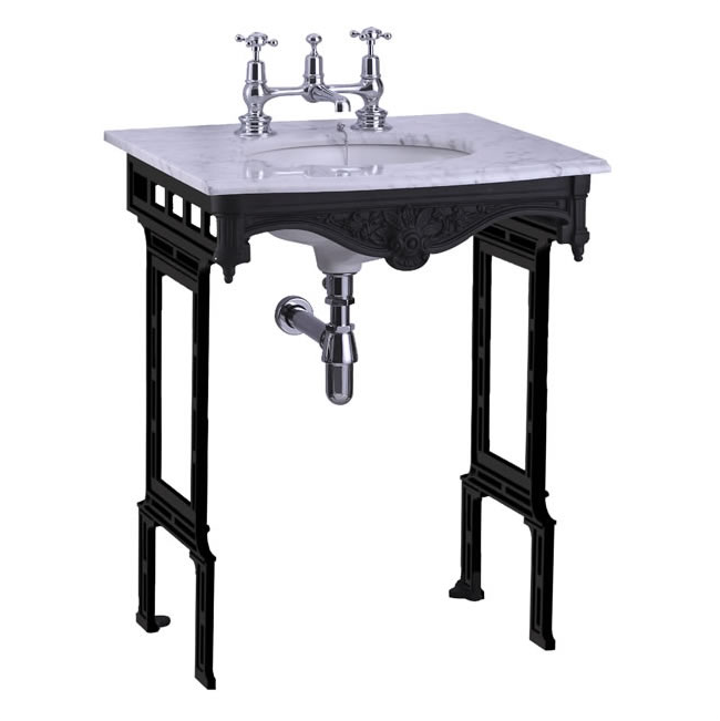 Carrera marble top & basin with black aluminium washstand